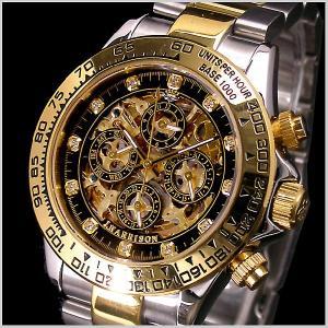 ジョンハリソンJ.HARRISON 多機能両面スケルトンタイプ機械式腕時計 スワロフスキー12ポイント(ブラック) 国内正規品 JH-003GBK|bellmart
