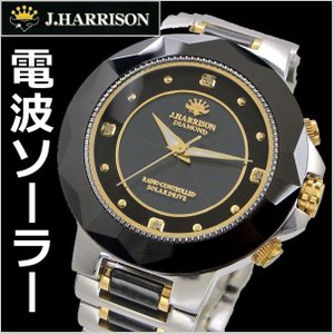 ジョンハリソンJ.HARRISON ソーラー電波 腕時計 天然ダイヤモンド4石付 メンズ/男性用 JH-024MBB|bellmart