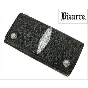 Bizarre(ビザール)エイ革(スティングレイ)三つ折れロングウォレット(長財布・ブラック)LWE001BK|bellmart