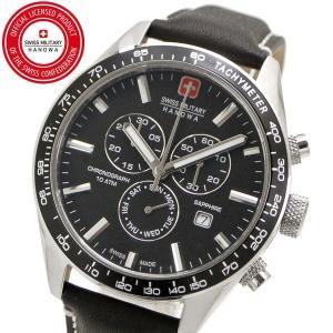 スイスミリタリー 腕時計 SWISS MILITARY PHANTOM CHRONO ファントムクロノ メンズ/レザーベルト ブラック文字盤 ML-446|bellmart