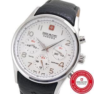スイスミリタリー 腕時計 SWISS MILITARY NAVALUS MULTIFUNCTION ナバロス マルチファンクション メンズ/レザーベルト ホワイト文字盤 ML-457|bellmart
