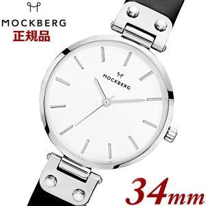 国内正規品 モックバーグ MOCKBERG 腕時計 Astrid レディース 34mm ブラック レザーベルト ホワイト文字盤 シルバー MO1002|bellmart