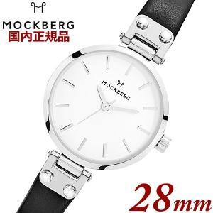 国内正規品 モックバーグ MOCKBERG 腕時計 Sigrid Petite レディース 28mm ブラック レザーベルト ホワイト文字盤 シルバー MO202|bellmart