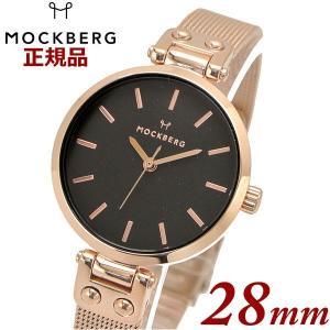 国内正規品 モックバーグ MOCKBERG 腕時計 Lily Petite Noir レディース 28mm メッシュベルト ブラック文字盤 ローズゴールド MO408|bellmart