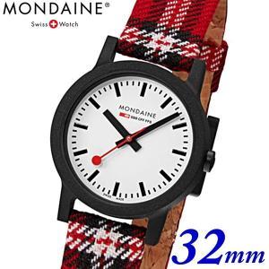 モンディーン Mondaine クリスマス限定モデル 腕時計 エッセンス スコティッシュ レディース 32mm タータンチェック ホワイト x レッド MS1.32111.LC bellmart