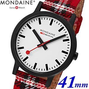 モンディーン Mondaine クリスマス限定モデル 腕時計 エッセンス スコティッシュ メンズ 41mm タータンチェック ホワイト x レッド MS1.41111.LC bellmart