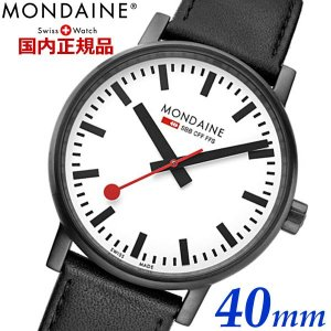 モンディーン MONDAINE エヴォ2 EVO2 40mm ブラックステッチ 腕時計 スイス国鉄オフィシャル鉄道ウォッチ メンズ スイス製 MSE.40111.LB bellmart