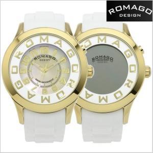 ロマゴ デザイン ROMAGO DESIGN  腕時計 アトラクション ミラーウォッチ シリコンラバーベルト/ホワイト x イエローゴールド RM015-0162PL-GDWH|bellmart