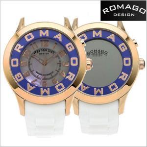 ロマゴ デザイン ROMAGO DESIGN  腕時計 アトラクション ミラーウォッチ シリコンラバーベルト/ホワイト x ローズゴールド/ブルー RM015-0162PL-RGBU|bellmart