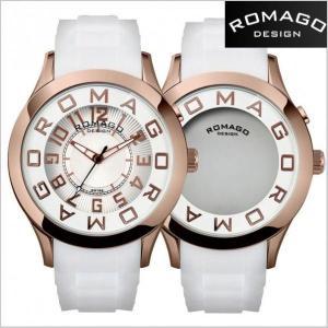 ロマゴ デザイン ROMAGO DESIGN  腕時計 アトラクション ミラーウォッチ シリコンラバーベルト/ホワイト x ローズゴールド RM015-0162PL-RGWH|bellmart