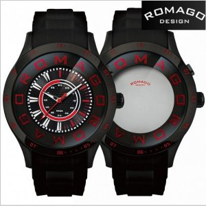 ROMAGO DESIGN ロマゴ デザイン 腕時計 アトラクション ミラーウォッチ シリコンラバーベルト/ブラック x レッド文字盤 RM015-0235PL-BK|bellmart