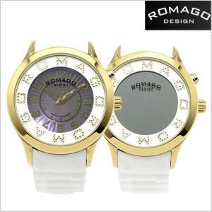 ROMAGO DESIGN  ロマゴ デザイン 腕時計 アトラクション ミラーウォッチ シリコンラバーベルト/ホワイト x ゴールド ユニセックス・ボーイズ RM067-0162PL-GDWH|bellmart