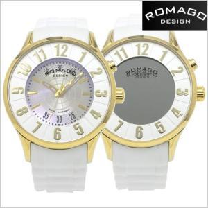 ロマゴ デザイン ROMAGO DESIGN  腕時計 アトラクション ミラーウォッチ ホワイト x イエローゴールド レディース・ユニセックス RM068-0053PL-GDWH|bellmart
