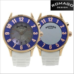ROMAGO DESIGN  ロマゴ デザイン 腕時計 アトラクション ミラーウォッチ シリコンラバーベルト/ホワイト x ローズ ユニセックス・ボーイズ RM068-0153PL-RGBU|bellmart