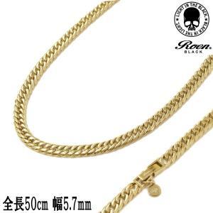 Roen BLACK ロエン ブラック 6面W喜平ネックレス ステンレス316L ゴールドカラー 全長50cm 幅5.7mm メンズ レディース ユニセックス RO-921|bellmart