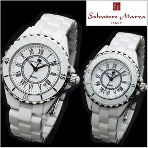サルバトーレマーラ SALVATORE MARRA ペアウォッチ 腕時計 メンズ・レディース2本セット セラミック/ホワイト・ローマ数字 SM15120-SM15151-WHR|bellmart