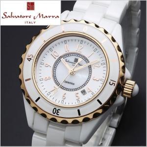 サルバトーレマーラ SALVATORE MARRA レディース腕時計 セラミック/ホワイト x ゴールド・アラビア数字 SM15151-PGWHA|bellmart