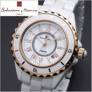 サルバトーレマーラ SALVATORE MARRA レディース腕時計 セラミック/ホワイト x ゴールド・ローマ数字 SM15151-PGWHR|bellmart