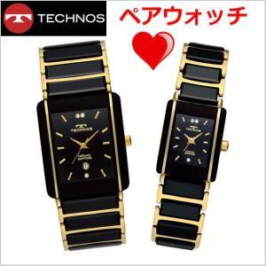 テクノス TECHNOS 腕時計 ペアウォッチメンズ&レディース セラミック&ステンレススチール製 TSM903GB-TSL906GB|bellmart