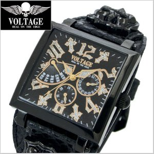 VOLTAGE ヴォルテージ メンズ腕時計 REQUIEM II (レクイエム 2)ブラック x ゴールド VO-117B-02/B(GD)|bellmart