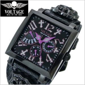 VOLTAGE ヴォルテージ メンズ腕時計 REQUIEM II (レクイエム 2)ブラック x パープル VO-117B-02/B(PU)|bellmart