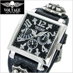 VOLTAGE ヴォルテージ メンズ腕時計 REQUIEM II (レクイエム 2) シルバー×ブラック  VO-117S-02/B|bellmart