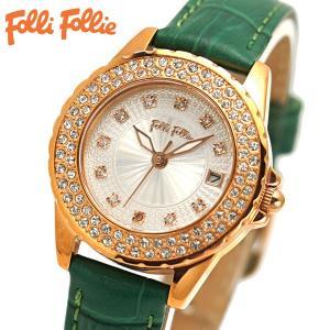 フォリフォリ FOLLI FOLLIE 腕時計 レディース/女性用 ローズゴールド x グリーン WF13B071STS-GR|bellmart