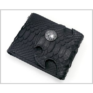 William Walles(ウィリアム ウォレス) スネーク革シュートウォレット(二つ折り財布・ブラック) BLACK SNAKE LONG WW-13270SNK-BK bellmart