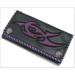 William Walles(ウィリアムウォレス) 牛革ロングウォレット(長札入) Gothic Tribal Fusion Purple WW-3295BKPU bellmart
