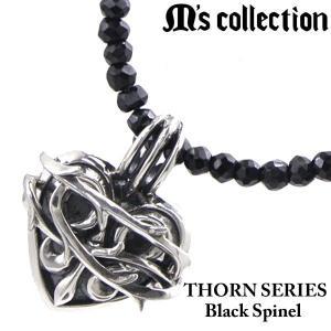M's collection エムズコレクション ブラックスピネル ネックレス THORN BRAMBLE HEART ソーンシリーズ ブランブルハート メンズ/レディース X0301|bellmart