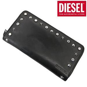 ディーゼル DIESEL 長財布 ラウンドファスナーウォレット 牛革・ブラック スタッズ メンズ X05360 PR412 T8013 bellmart
