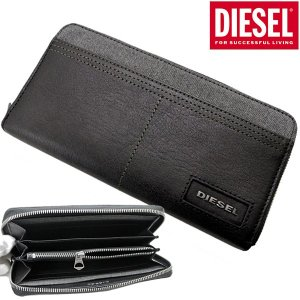 ディーゼル DIESEL 長財布 ラウンドファスナーウォレット レザー×デニム・ブラック/メンズ ディーゼル DIESEL X05573 PR185 H6027 bellmart