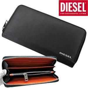 ディーゼル DIESEL 長財布 ラウンドファスナーウォレット 本革/ゴートレザー・ブラック x オレンジ/メンズ X05598 PR1752 H6818 bellmart