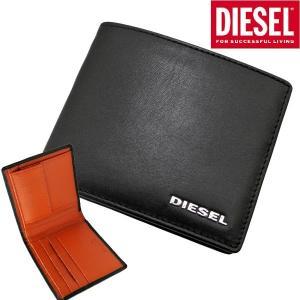 ディーゼル DIESEL 二つ折り財布 ショートウォレット レザー/本革・ブラック x パンプキンオレンジ メンズ X05601 P1752 H6818 bellmart