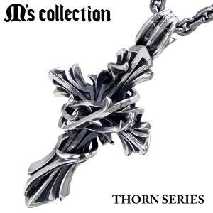 M's collection エムズコレクション ペンダント/ネックレス(チェーン付) THORN BRAMBLE CROSS ソーンシリーズ ブランブルクロス・ラージサイズ メンズ XP-060|bellmart