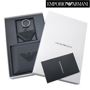 EMPORIO ARMANI エンポリオ アルマーニ 二つ折財布 & キーリング セットモデル 小銭入れ付き ショートウォレット Y4R174 YFE6J 81072|bellmart