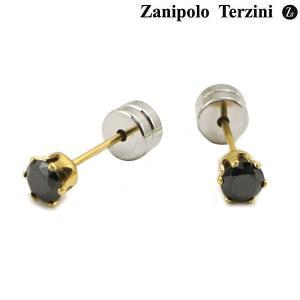 Zanipolo Terzini ザニポロ タルツィーニ ピアス ステンレス製 ブラックジルコニア ZTE3645-YGBK (2個/両耳用) bellmart