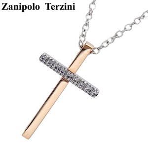 Zanipolo Terzini(ザニポロ・タルツィーニ)サージカルステンレス製 ペンダント/ネックレス (チェーン付)レディース ジルコニア クロス ZTP2249-FM-RG bellmart