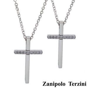 Zanipolo Terzini(ザニポロ・タルツィーニ)サージカルステンレス製 ペアペンダント/ネックレス (チェーン付)男女2本セット ジルコニア クロス ZTP2249 bellmart