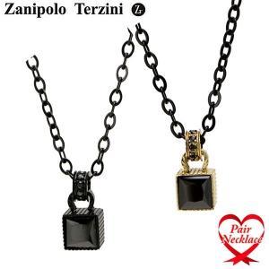Zanipolo Terzini(ザニポロ・タルツィーニ)ペアネックレス(2本セット) ブラックIP キュービックジルコニア サージカルステンレス製 ZTP3709 bellmart
