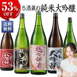 日本酒 純米大吟醸 飲み比べ セット 1800ml 5本 約52%OFF 送料無料 越乃五蔵純米大吟醸一升瓶5本組