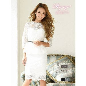 キャバ ドレス キャバドレス キャバクラ ミニドレス パーティードレス Ryuyu レース 膝丈 7分袖 キャバクラドレス あすつく 小さいサイズ ナイトドレス|belsia