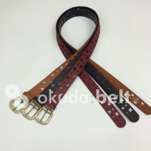 ベルト レディースベルト 合成皮革 ベルト PVC 30ミリ スター&クローバー パンチングベルト 布ベルト 自社生産 日本製 ベルトレディースファッション|beltokuda