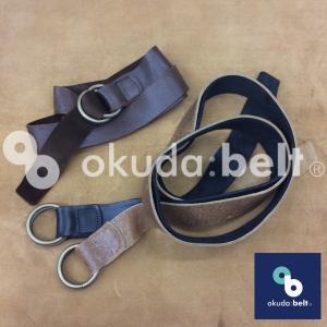 ベルト ダブルリングベルト ガチャベルト 32ミリ イギリス製 希少な kudu クードゥー  メンズ レザーベルト GIベルト 本革 レザー 自社生産 日本製|beltokuda