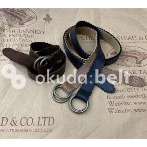 ベルト レディース レザーベルト 30ミリ ガチャベルト ダブルリングベルト 本革 イギリス製 希少な kudu クードゥー 男女兼用 日本製 可愛い ベルト|beltokuda