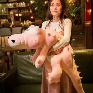 ぬいぐるみ ワニ 柔らかな肌触りと丈夫な縫製 ピンク crocodile 120cm|beluhappines