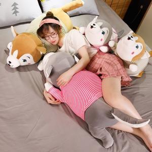 ぬいぐるみ いぬ ハスキー ふわふわ 抱き枕 クッション 添い寝 かわいい 80cm|beluhappines
