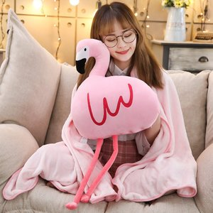 ぬいぐるみ フラミンゴ 抱き枕 クッション ハンドウォーマー ブランケット クリスマス 誕生日プレゼント|beluhappines