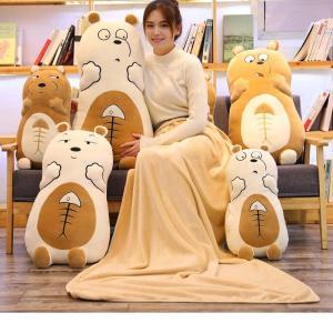 ぬいぐるみ 北極熊 抱き枕 ブランケット クッション ふわふわ かわいい 誕生日プレゼント55cm|beluhappines