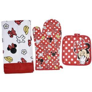 ディズニー Disney ミニーマウス キッチン タオル ハンド 布巾 ホルダー セット お皿用タオル ポットホルダー オーブンミット グローブ